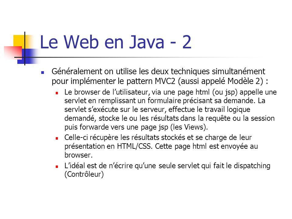 Le Web en Java - 2 Généralement on utilise les deux techniques simultanément pour implémenter le pattern MVC2 (aussi appelé Modèle 2) : Le browser de