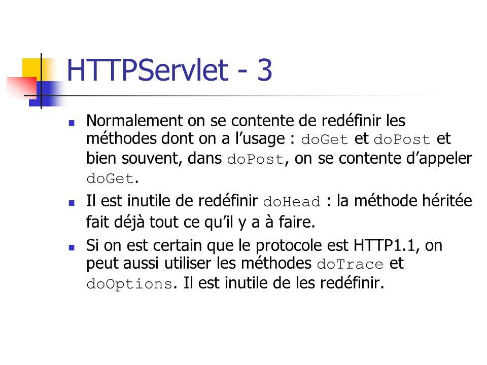HTTPServlet - 3 Normalement on se contente de redéfinir les méthodes dont on a lusage : doGet et doPost et bien souvent, dans doPost, on se contente d