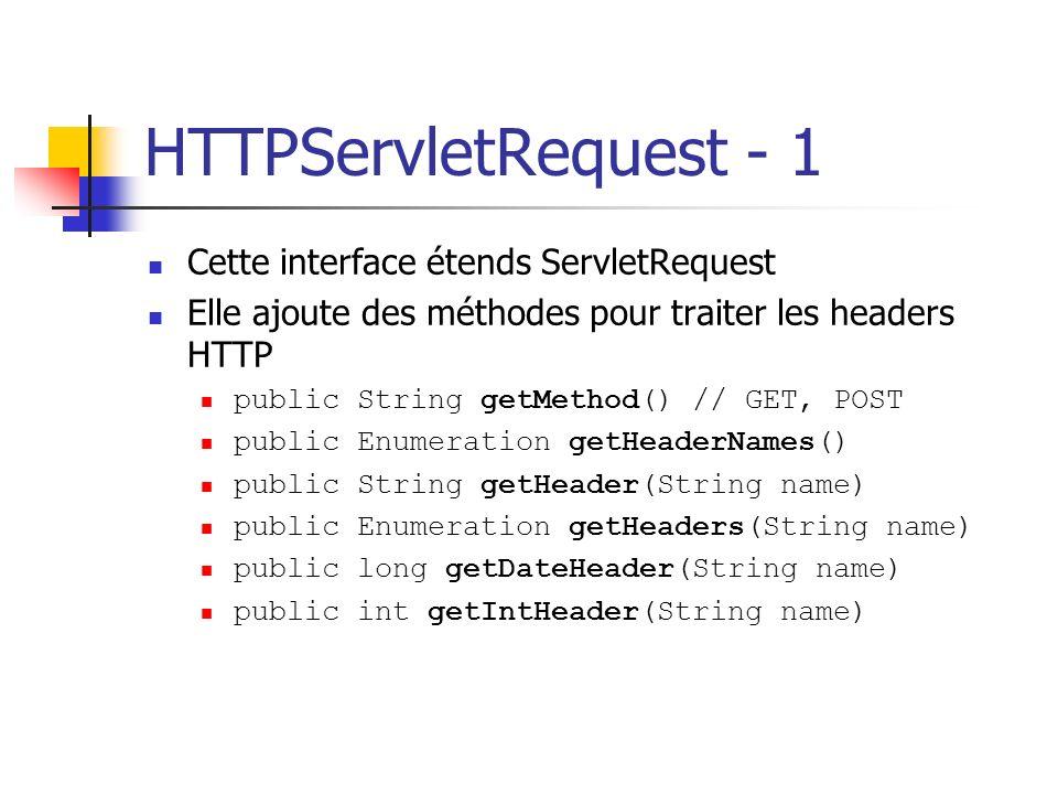 HTTPServletRequest - 1 Cette interface étends ServletRequest Elle ajoute des méthodes pour traiter les headers HTTP public String getMethod() // GET,