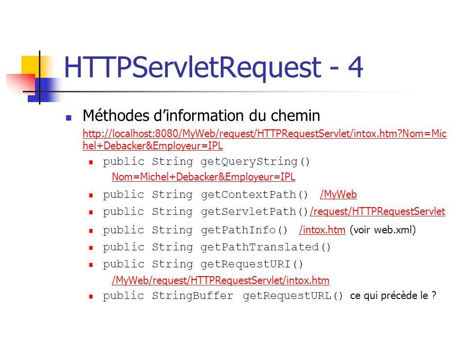 HTTPServletRequest - 4 Méthodes dinformation du chemin http://localhost:8080/MyWeb/request/HTTPRequestServlet/intox.htm?Nom=Mic hel+Debacker&Employeur