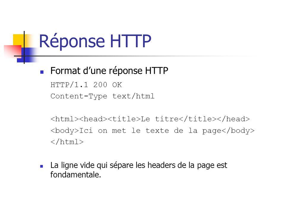 Réponse HTTP Format dune réponse HTTP HTTP/1.1 200 OK Content-Type text/html Le titre Ici on met le texte de la page La ligne vide qui sépare les head