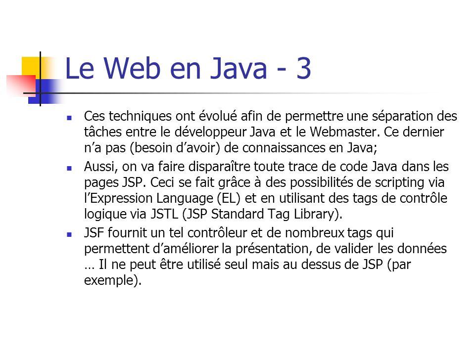 Le Web en Java - 3 Ces techniques ont évolué afin de permettre une séparation des tâches entre le développeur Java et le Webmaster. Ce dernier na pas