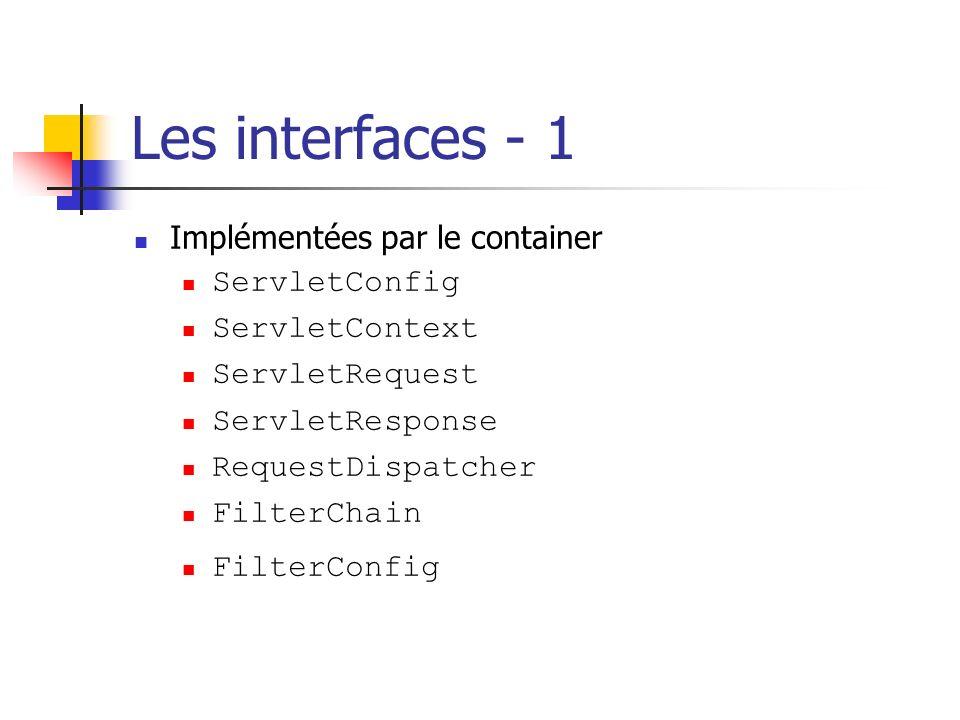 Les interfaces - 1 Implémentées par le container ServletConfig ServletContext ServletRequest ServletResponse RequestDispatcher FilterChain FilterConfi