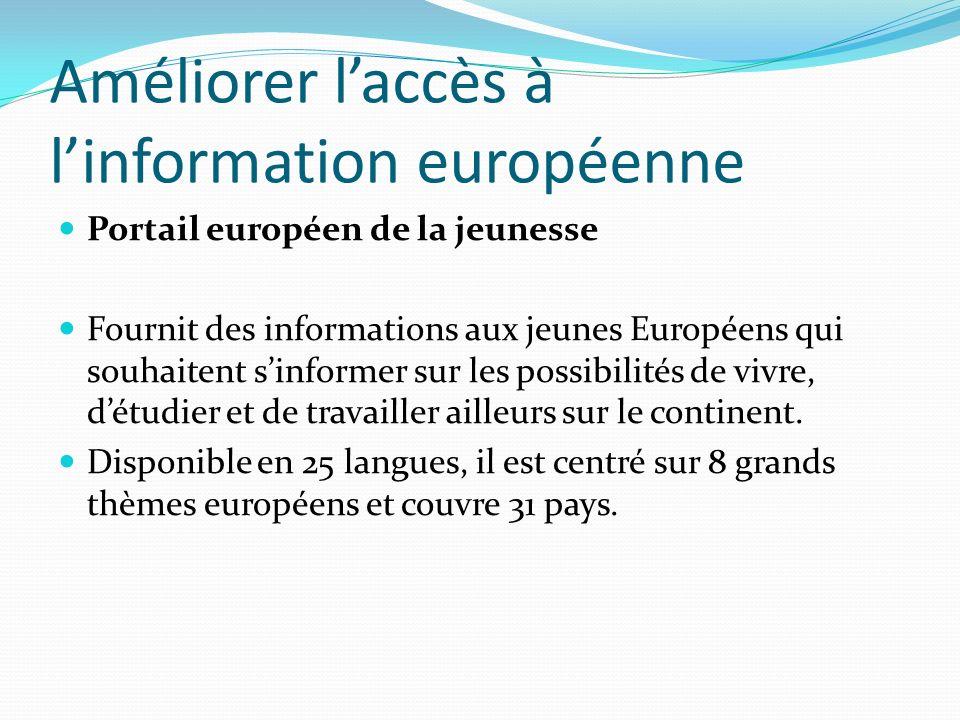 Améliorer laccès à linformation européenne Portail européen de la jeunesse Fournit des informations aux jeunes Européens qui souhaitent sinformer sur les possibilités de vivre, détudier et de travailler ailleurs sur le continent.