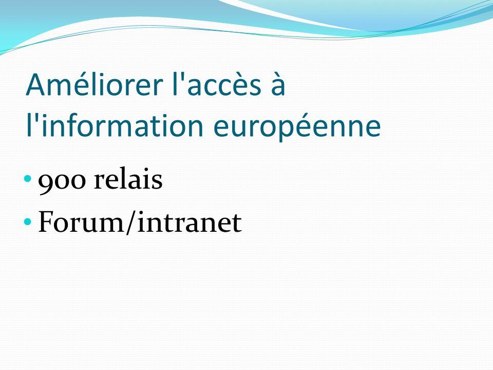 Améliorer l accès à l information européenne 900 relais Forum/intranet