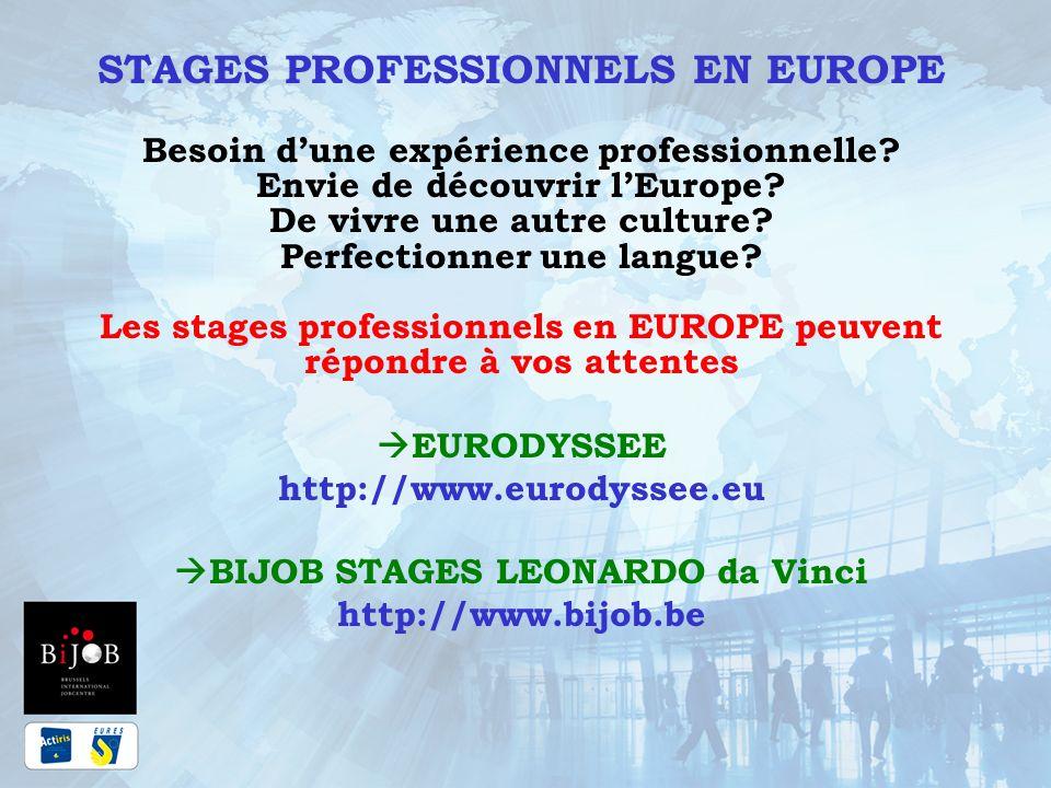 BIJOB STAGES LEONARDO CONTACTS Les conseillères BIJOB Stages: Adresse : BIJOB : Rue Marché aux Poulets 7 1000 Bruxelles Marie Rose PETRY E-mail : mrpetry@actiris.bemrpetry@actiris.be Tél : 02/505 14 21 Victoria PETROVA E-mail: vpetrova@actiris.bevpetrova@actiris.be Tél : 02/505 16 04