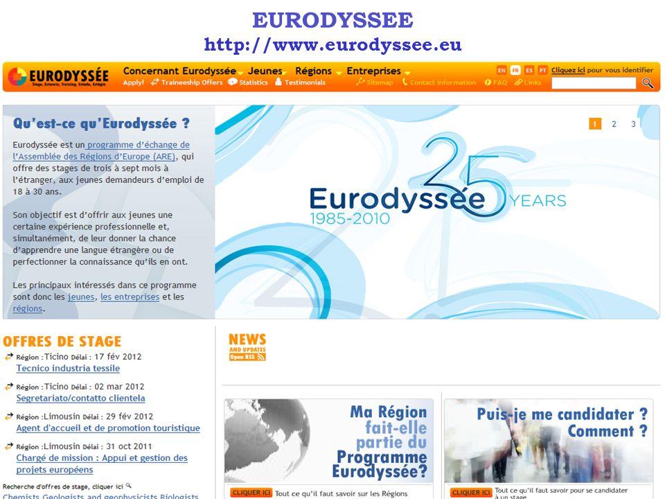 EURODYSSÉE OBJECTIFS Permettre aux jeunes diplômés âgés de 18 à 30 ans dacquérir une expérience professionnelle dans des régions européennes.