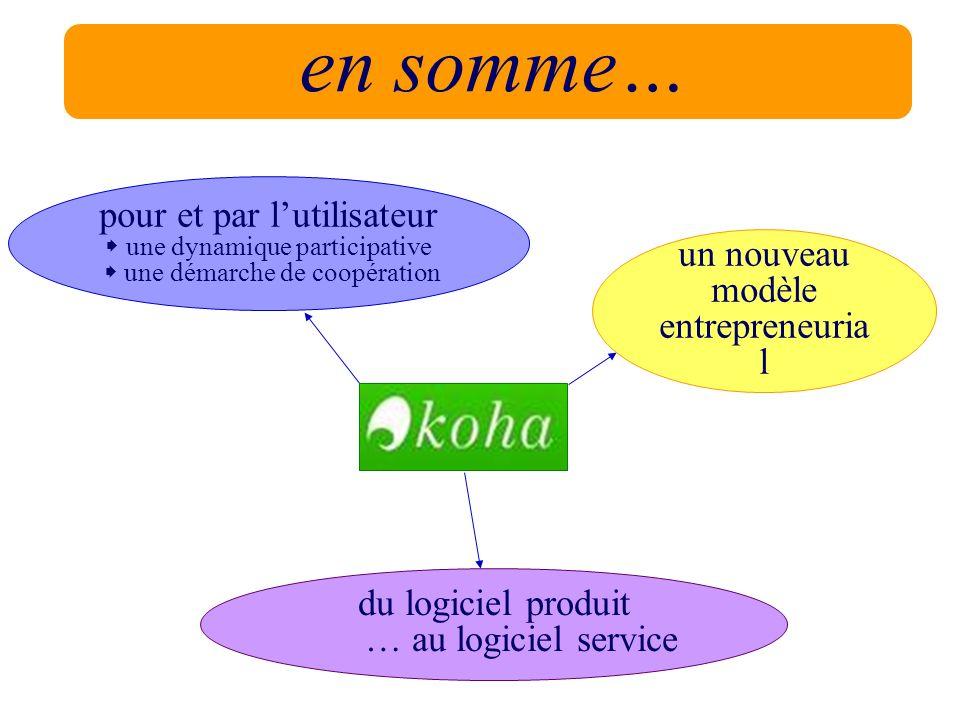 en somme… un nouveau modèle entrepreneuria l pour et par lutilisateur une dynamique participative une démarche de coopération du logiciel produit … au