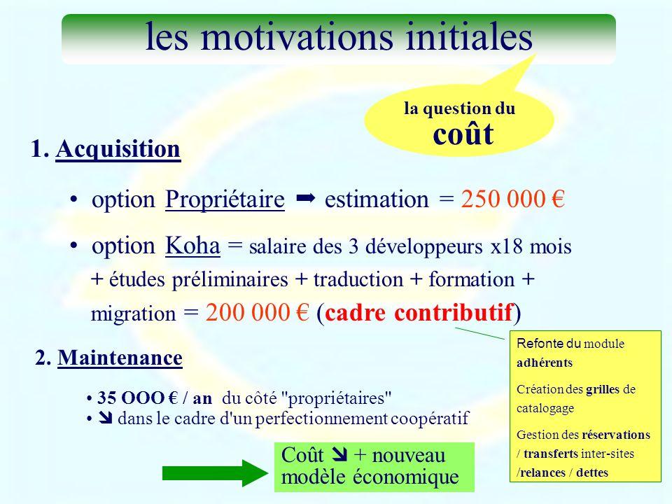 1. Acquisition option Propriétaire estimation = 250 000 option Koha = salaire des 3 développeurs x18 mois + études préliminaires + traduction + format