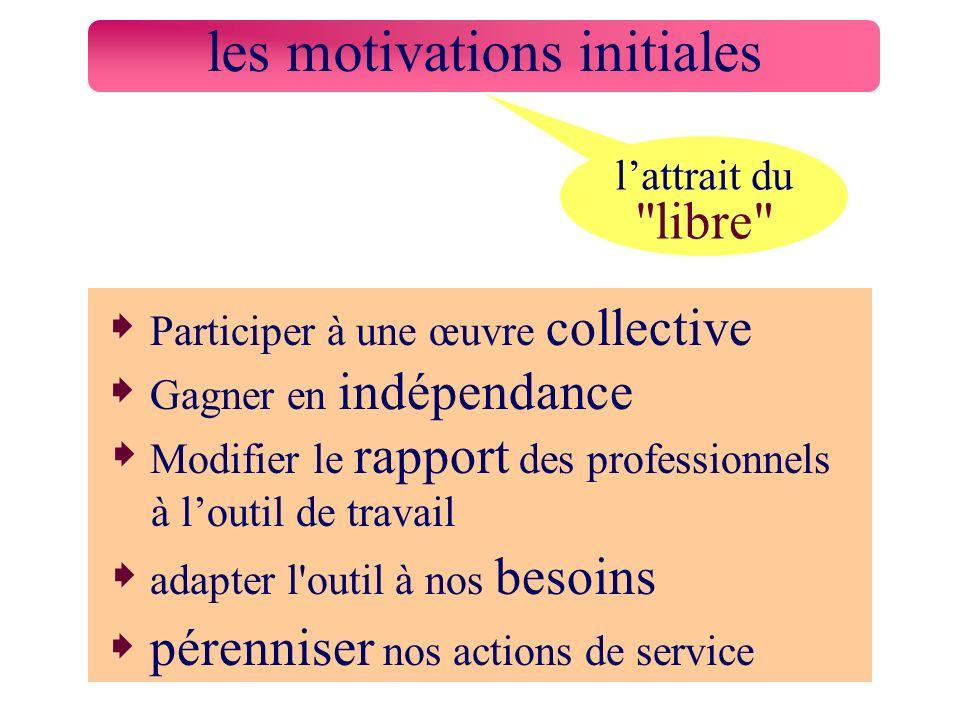 Participer à une œuvre collective Gagner en indépendance Modifier le rapport des professionnels à loutil de travail adapter l'outil à nos besoins pére