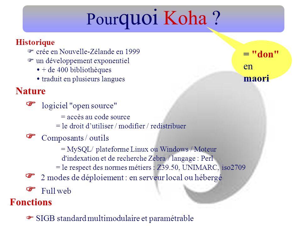 Pour quoi Koha ? logiciel