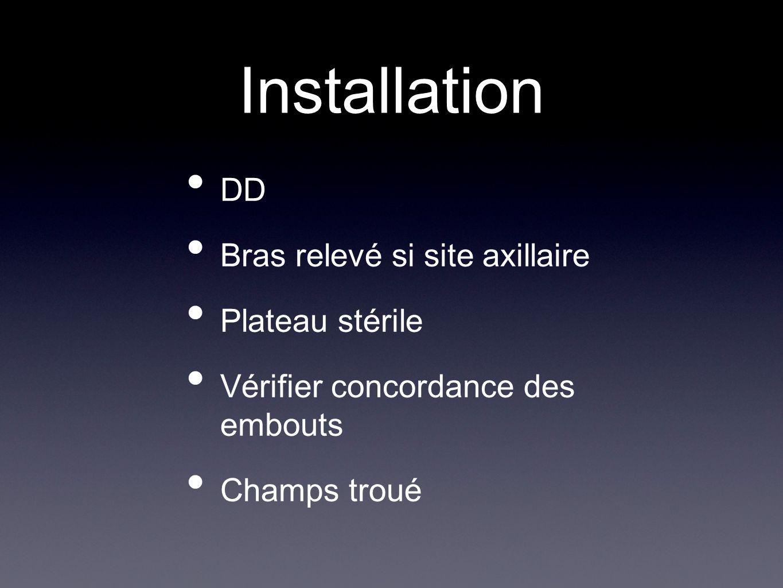Installation DD Bras relevé si site axillaire Plateau stérile Vérifier concordance des embouts Champs troué