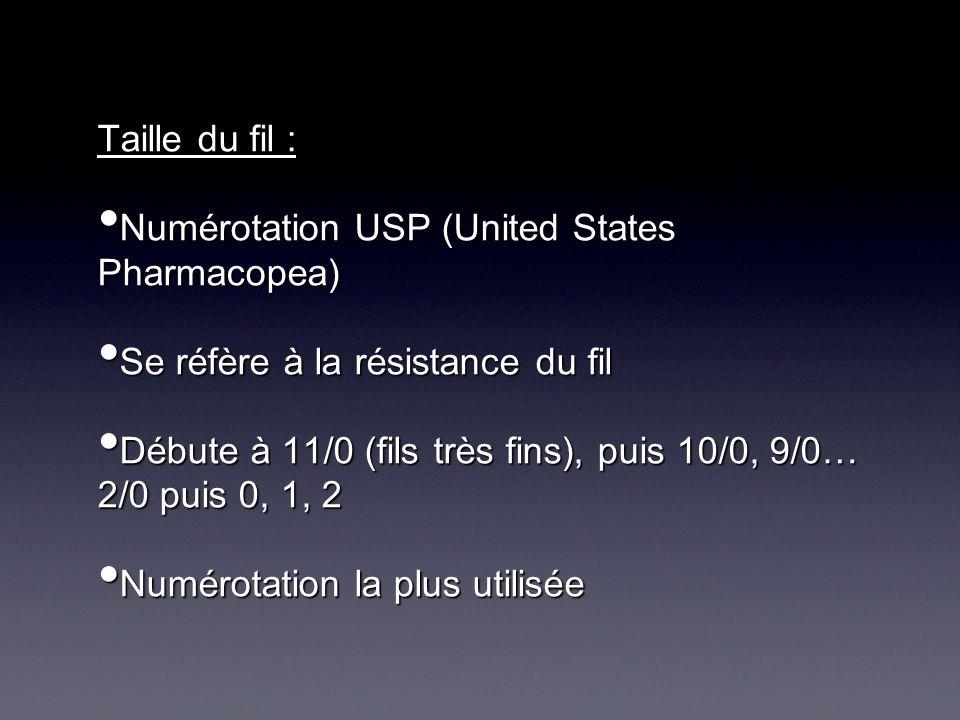 Taille du fil : Numérotation USP (United States Pharmacopea) Numérotation USP (United States Pharmacopea) Se réfère à la résistance du fil Se réfère à la résistance du fil Débute à 11/0 (fils très fins), puis 10/0, 9/0… 2/0 puis 0, 1, 2 Débute à 11/0 (fils très fins), puis 10/0, 9/0… 2/0 puis 0, 1, 2 Numérotation la plus utilisée Numérotation la plus utilisée