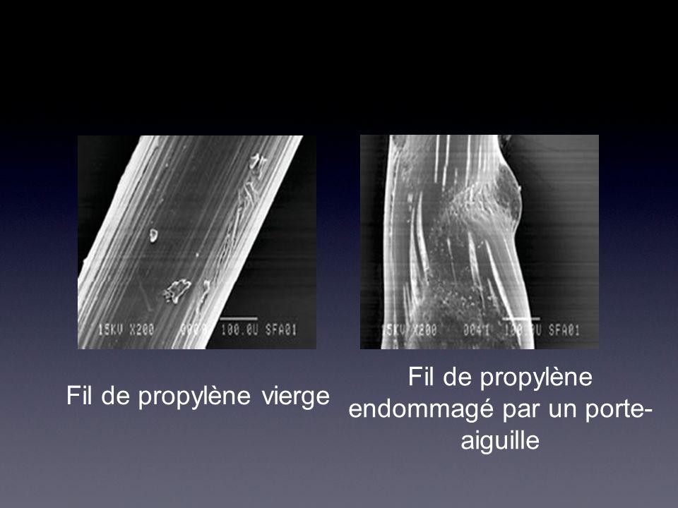 Fil de propylène vierge Fil de propylène endommagé par un porte- aiguille