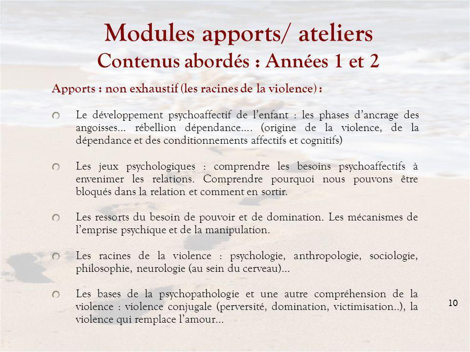 10 Modules apports/ ateliers Contenus abordés : Années 1 et 2 Apports : non exhaustif (les racines de la violence) : Le développement psychoaffectif d