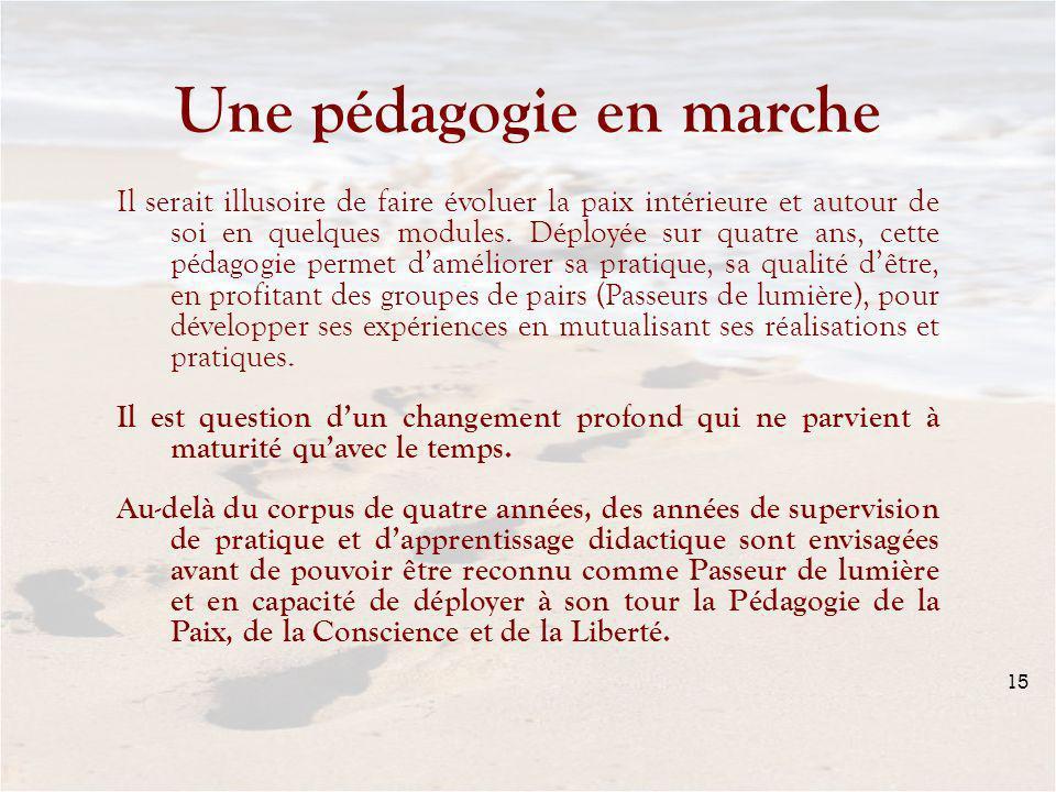 15 Une pédagogie en marche Il serait illusoire de faire évoluer la paix intérieure et autour de soi en quelques modules.