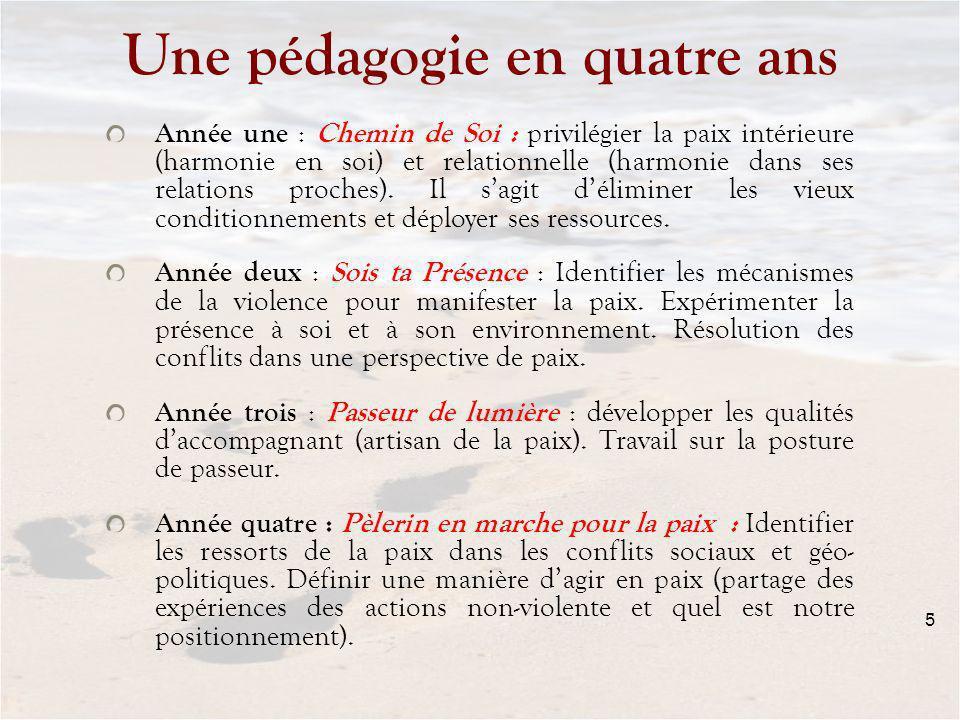 5 Une pédagogie en quatre ans Année une : Chemin de Soi : privilégier la paix intérieure (harmonie en soi) et relationnelle (harmonie dans ses relations proches).