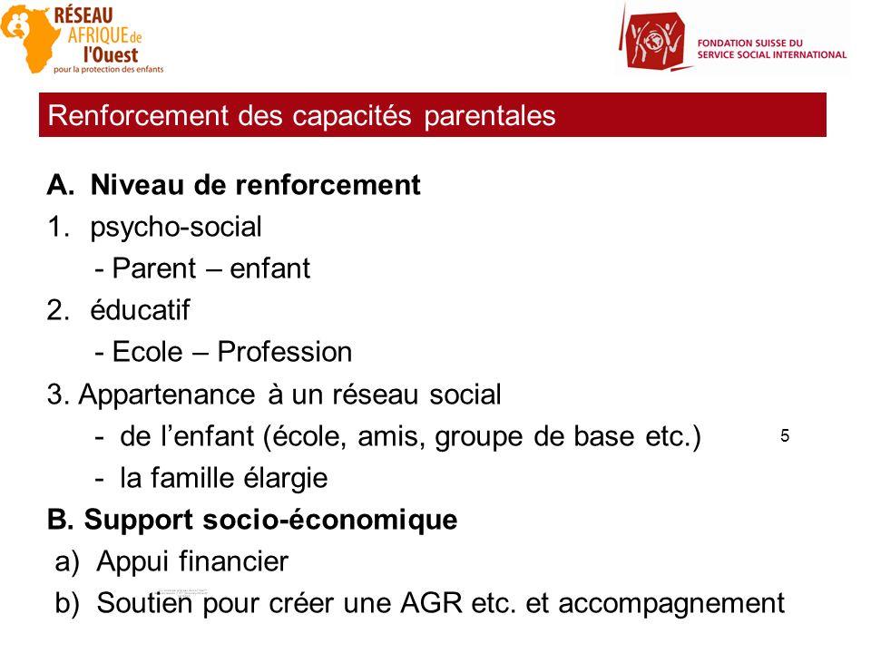 5 A.Niveau de renforcement 1.psycho-social - Parent – enfant 2.éducatif - Ecole – Profession 3. Appartenance à un réseau social - de lenfant (école, a