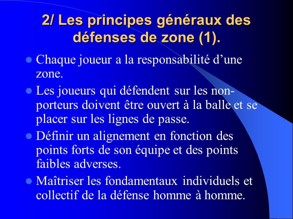 2/ Les principes généraux des défenses de zone (1). Chaque joueur a la responsabilité dune zone. Les joueurs qui défendent sur les non- porteurs doive