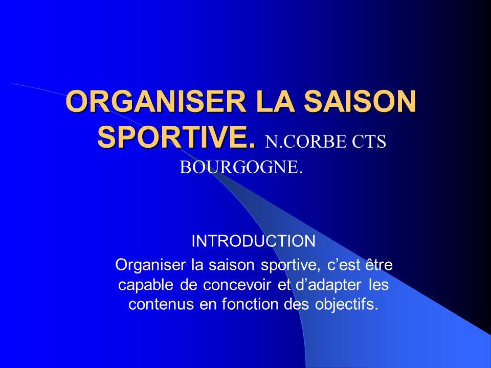 ORGANISER LA SAISON SPORTIVE. ORGANISER LA SAISON SPORTIVE. N.CORBE CTS BOURGOGNE. INTRODUCTION Organiser la saison sportive, cest être capable de con