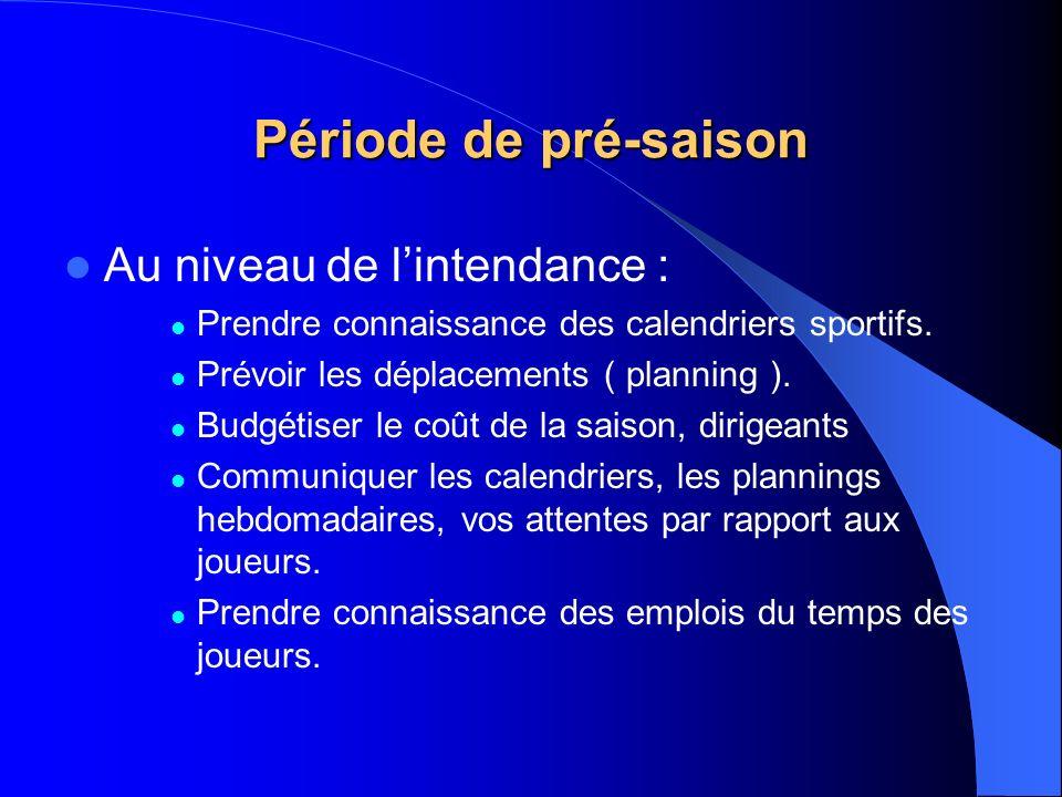 Période de pré-saison Au niveau de lintendance : Prendre connaissance des calendriers sportifs. Prévoir les déplacements ( planning ). Budgétiser le c