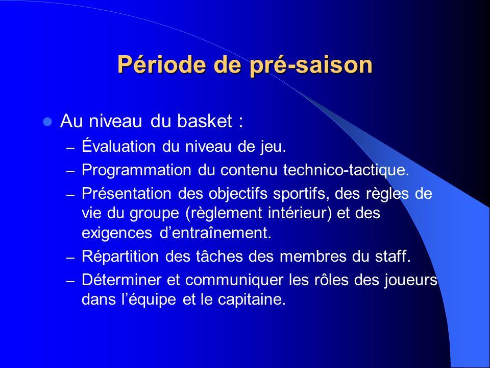 Période de pré-saison Au niveau du basket : – Évaluation du niveau de jeu. – Programmation du contenu technico-tactique. – Présentation des objectifs