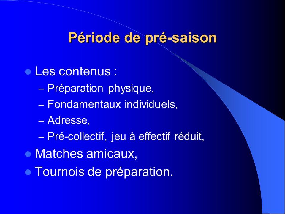 Période de pré-saison Les contenus : – Préparation physique, – Fondamentaux individuels, – Adresse, – Pré-collectif, jeu à effectif réduit, Matches am