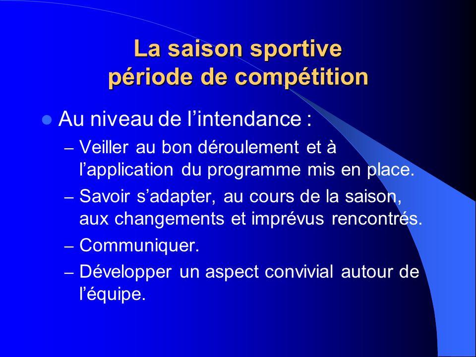 La saison sportive période de compétition Au niveau de lintendance : – Veiller au bon déroulement et à lapplication du programme mis en place. – Savoi