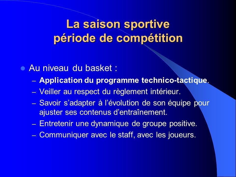 La saison sportive période de compétition Au niveau du basket : – Application du programme technico-tactique. – Veiller au respect du règlement intéri