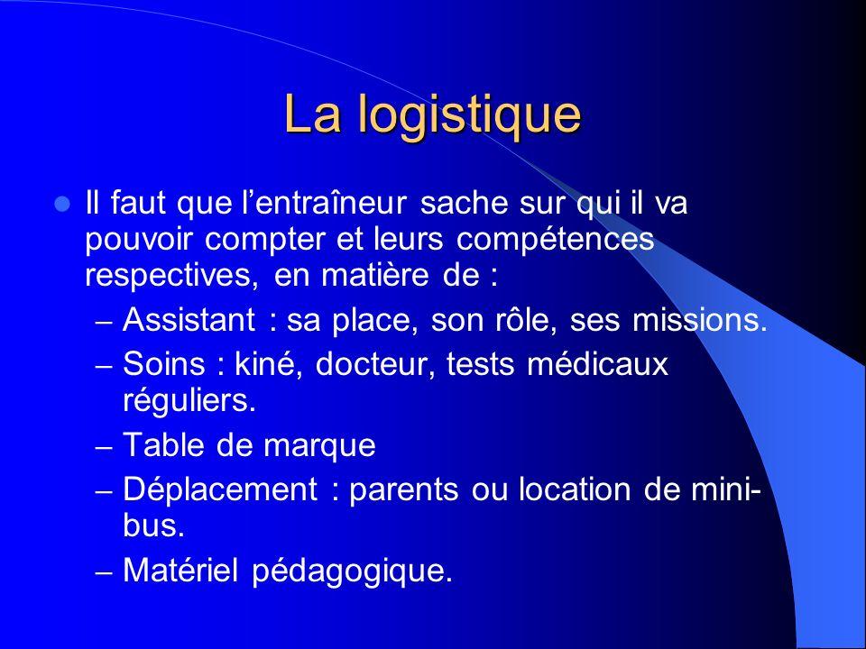 La logistique Il faut que lentraîneur sache sur qui il va pouvoir compter et leurs compétences respectives, en matière de : – Assistant : sa place, so