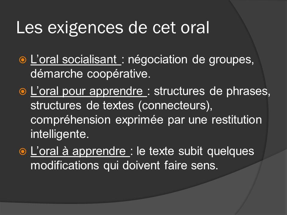 Les exigences de cet oral Loral socialisant : négociation de groupes, démarche coopérative. Loral pour apprendre : structures de phrases, structures d
