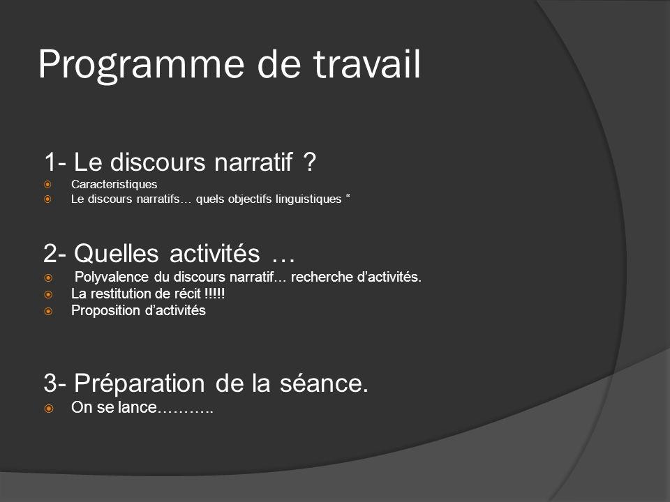 Programme de travail 1- Le discours narratif ? Caracteristiques Le discours narratifs… quels objectifs linguistiques 2- Quelles activités … Polyvalenc
