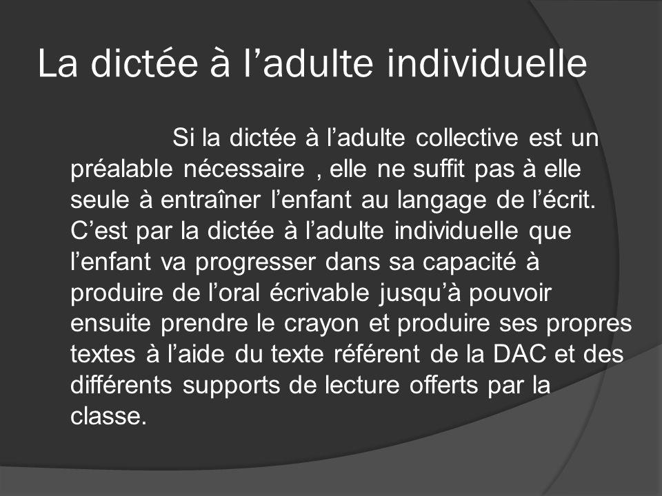 La dictée à ladulte individuelle Si la dictée à ladulte collective est un préalable nécessaire, elle ne suffit pas à elle seule à entraîner lenfant au langage de lécrit.