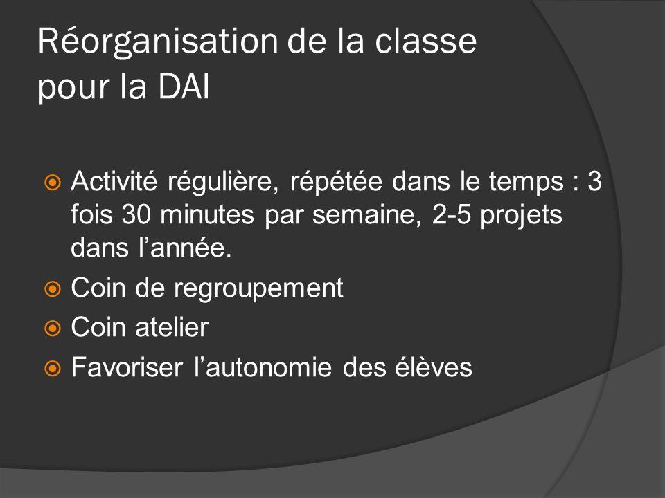 Réorganisation de la classe pour la DAI Activité régulière, répétée dans le temps : 3 fois 30 minutes par semaine, 2-5 projets dans lannée. Coin de re