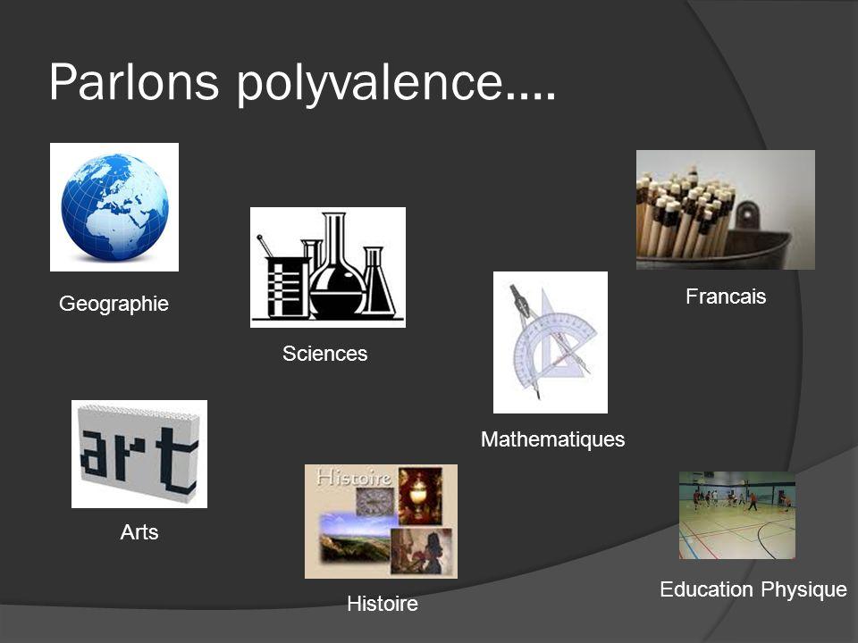 Parlons polyvalence…. Geographie Sciences Mathematiques Francais Arts Education Physique Histoire