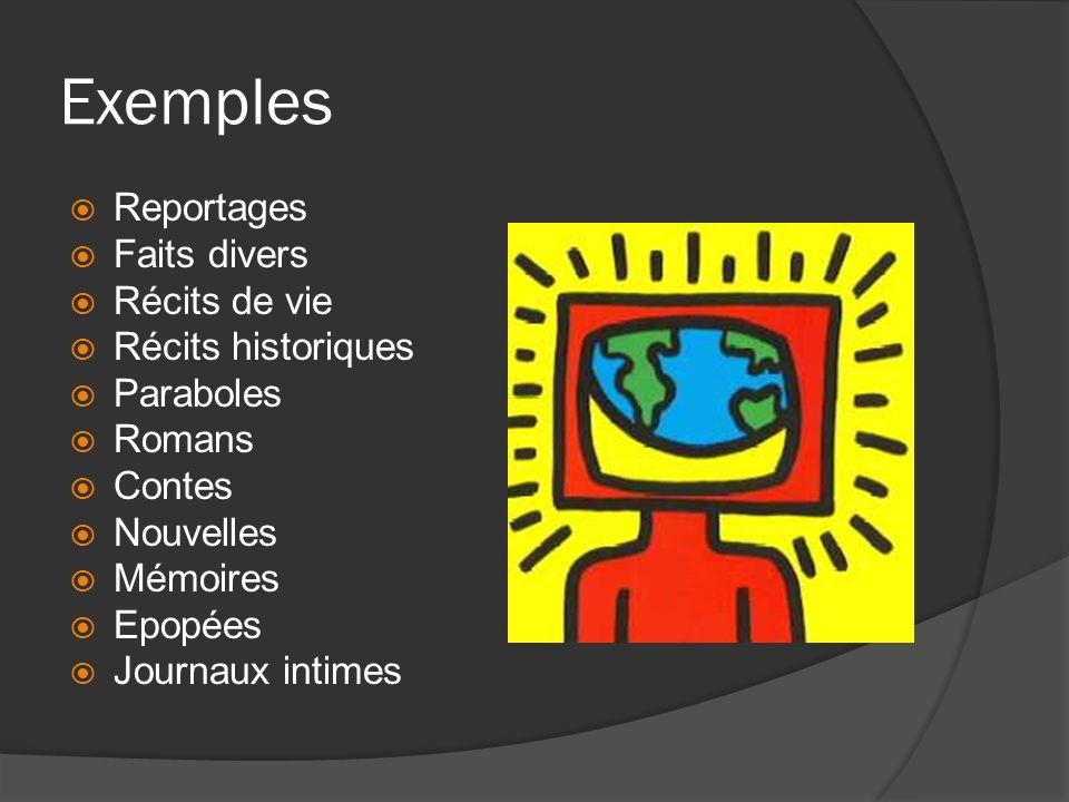 Exemples Reportages Faits divers Récits de vie Récits historiques Paraboles Romans Contes Nouvelles Mémoires Epopées Journaux intimes