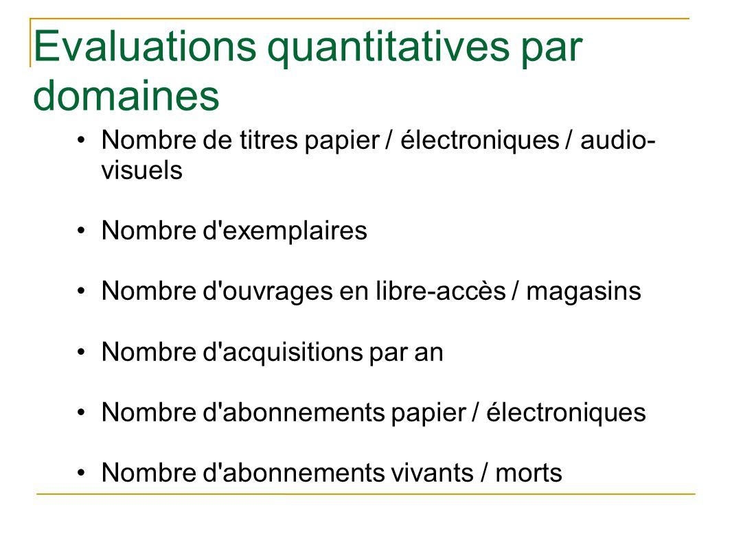 Evaluations quantitatives par domaines Nombre de titres papier / électroniques / audio- visuels Nombre d'exemplaires Nombre d'ouvrages en libre-accès