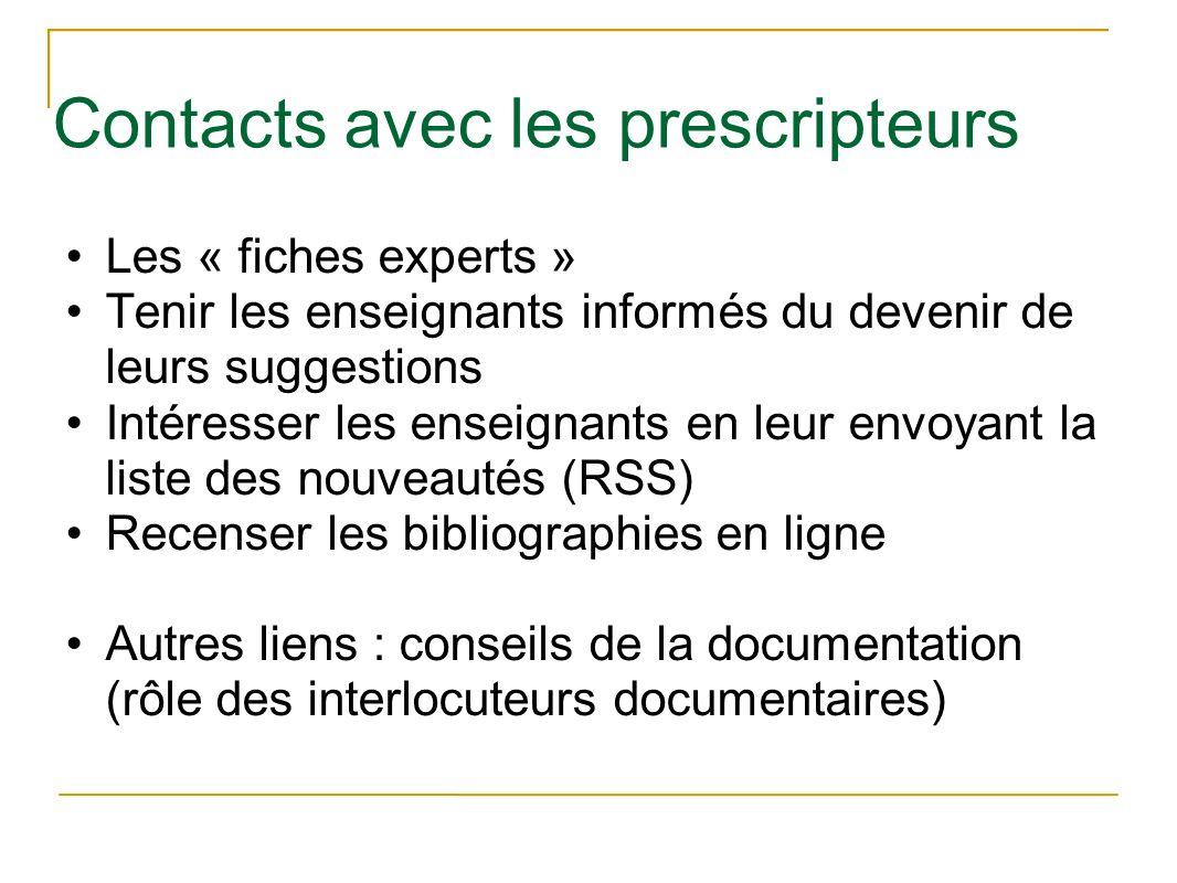 Contacts avec les prescripteurs Les « fiches experts » Tenir les enseignants informés du devenir de leurs suggestions Intéresser les enseignants en le