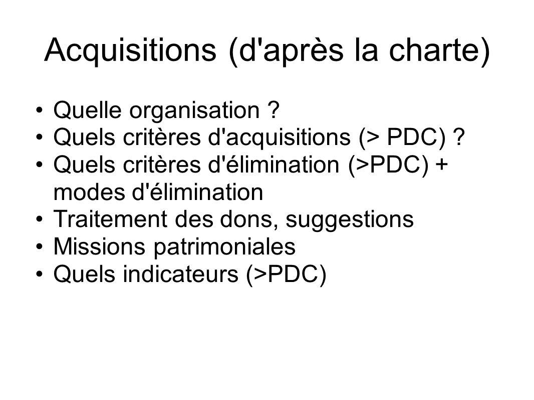 Acquisitions (d'après la charte) Quelle organisation ? Quels critères d'acquisitions (> PDC) ? Quels critères d'élimination (>PDC) + modes d'éliminati