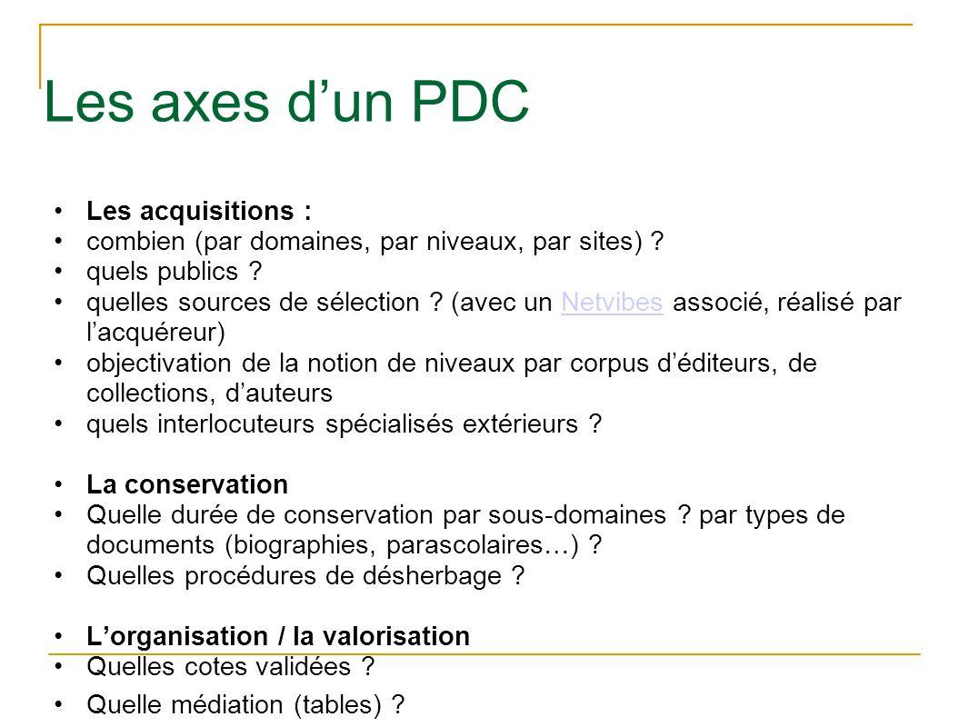 Les axes dun PDC Les acquisitions : combien (par domaines, par niveaux, par sites) ? quels publics ? quelles sources de sélection ? (avec un Netvibes