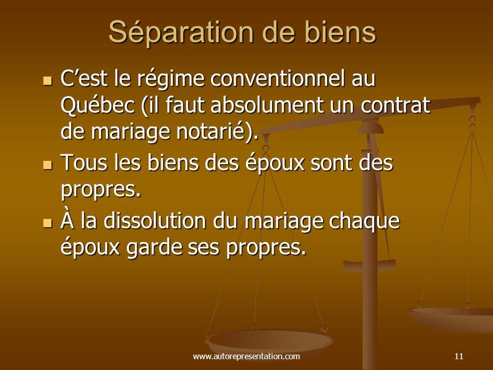 www.autorepresentation.com10 La société dacquêts Régime légal (supplétif de volonté) au Québec depuis 1970. Régime légal (supplétif de volonté) au Qué