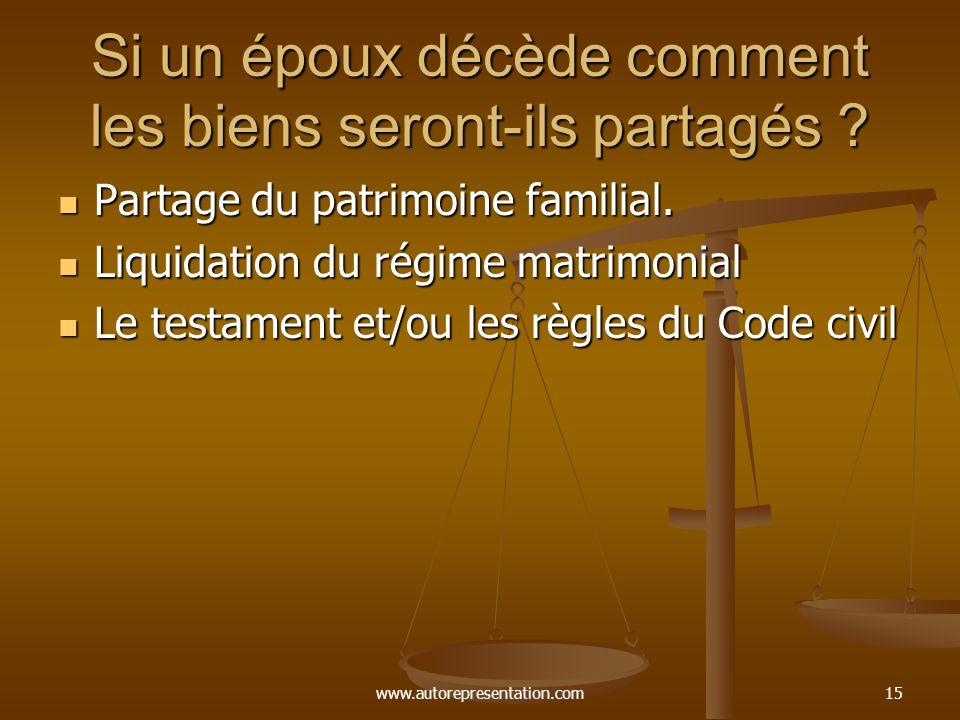 www.autorepresentation.com14 Contenu du contrat de mariage Choix du régime matrimonial ( les époux peuvent choisir la société d acquêts ). Choix du ré