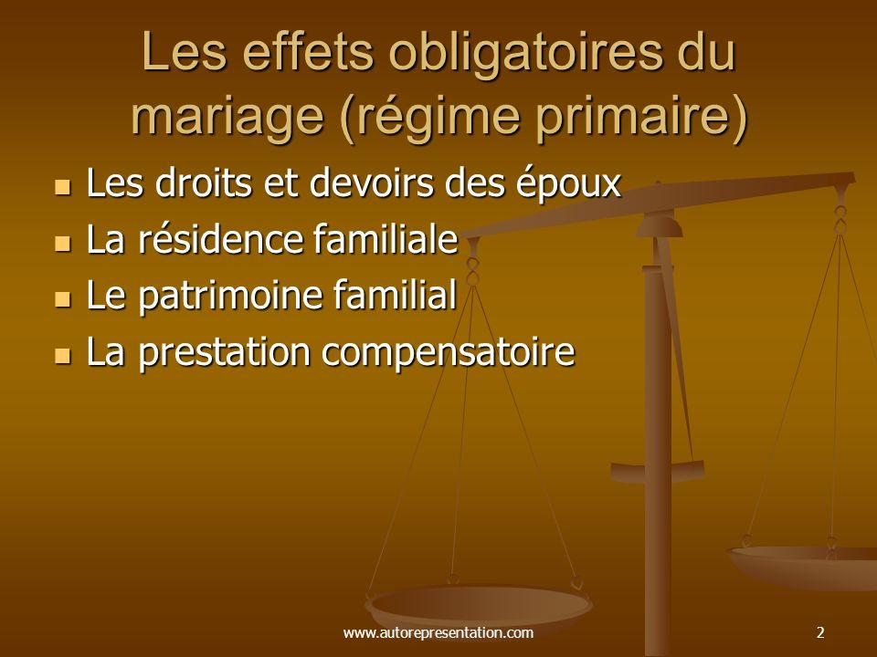 www.autorepresentation.com12 Communauté de biens Certaines personnes sont encore mariés sous ce régime qui était le régime légal jusqu en 1970.