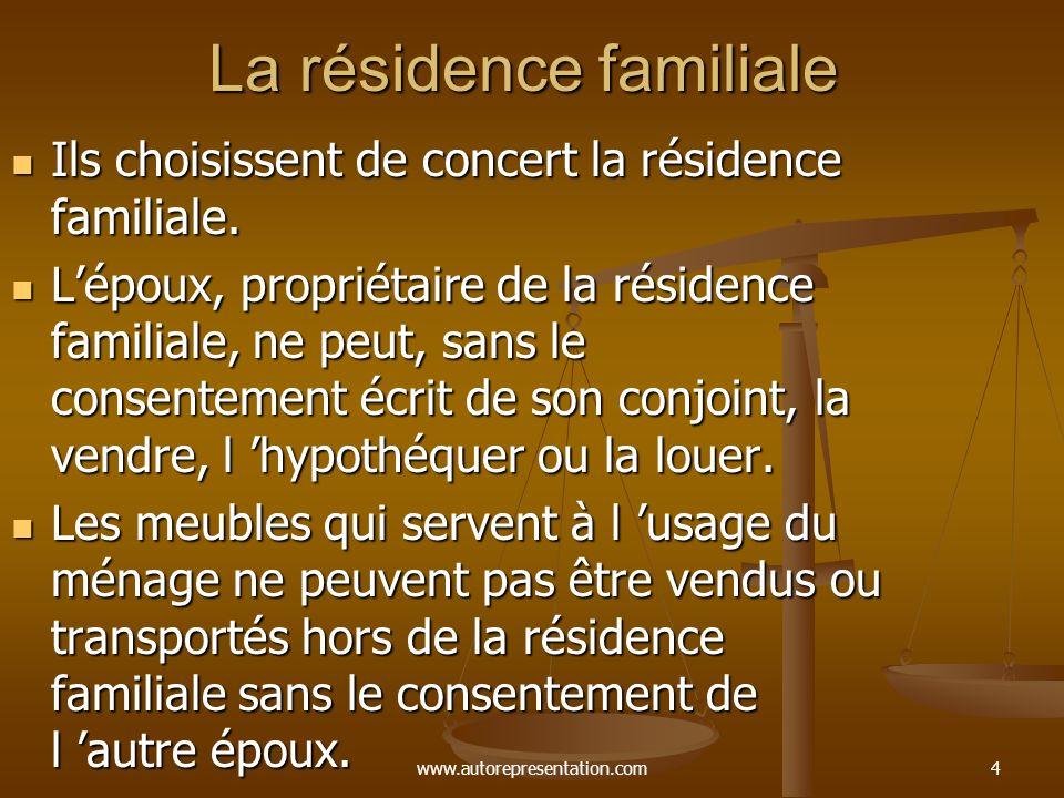 www.autorepresentation.com14 Contenu du contrat de mariage Choix du régime matrimonial ( les époux peuvent choisir la société d acquêts ).