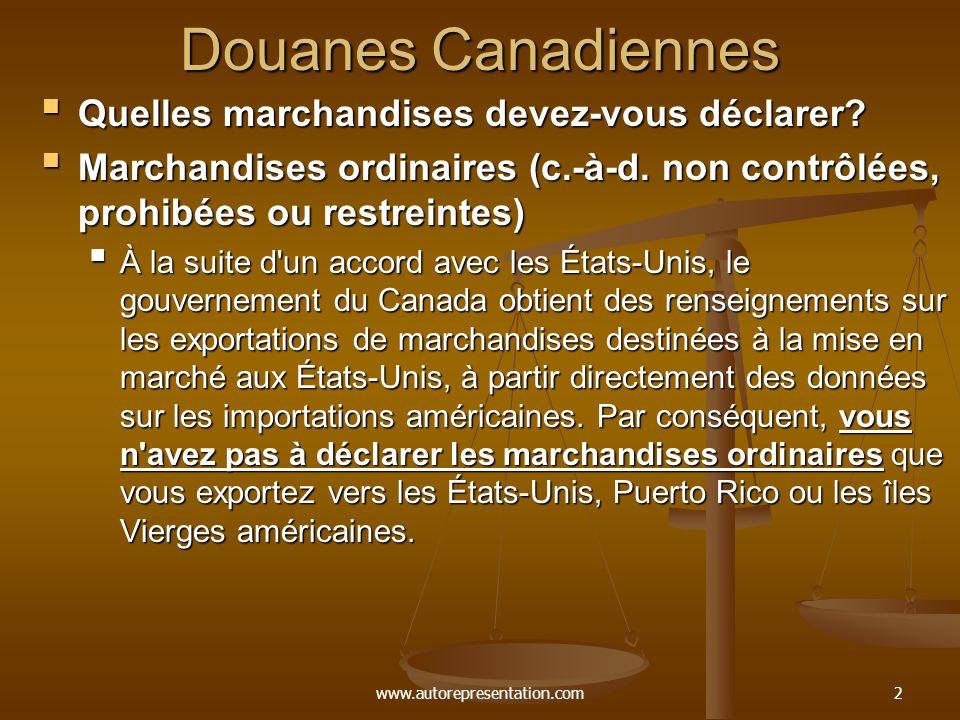 www.autorepresentation.com2 Douanes Canadiennes Quelles marchandises devez-vous déclarer? Quelles marchandises devez-vous déclarer? Marchandises ordin