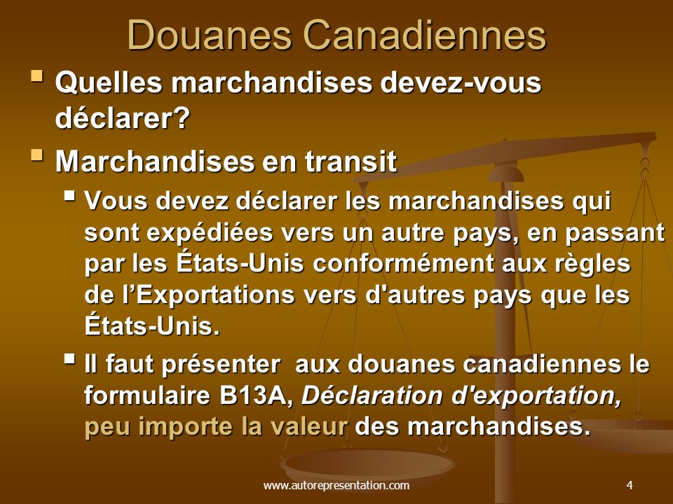 www.autorepresentation.com4 Douanes Canadiennes Quelles marchandises devez-vous déclarer? Quelles marchandises devez-vous déclarer? Marchandises en tr