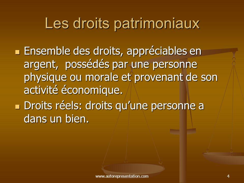 www.autorepresentation.com4 Les droits patrimoniaux Ensemble des droits, appréciables en argent, possédés par une personne physique ou morale et prove
