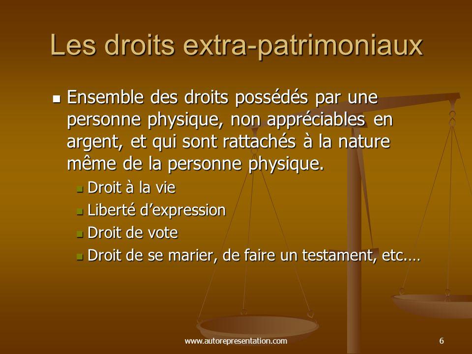 www.autorepresentation.com6 Les droits extra-patrimoniaux Ensemble des droits possédés par une personne physique, non appréciables en argent, et qui s