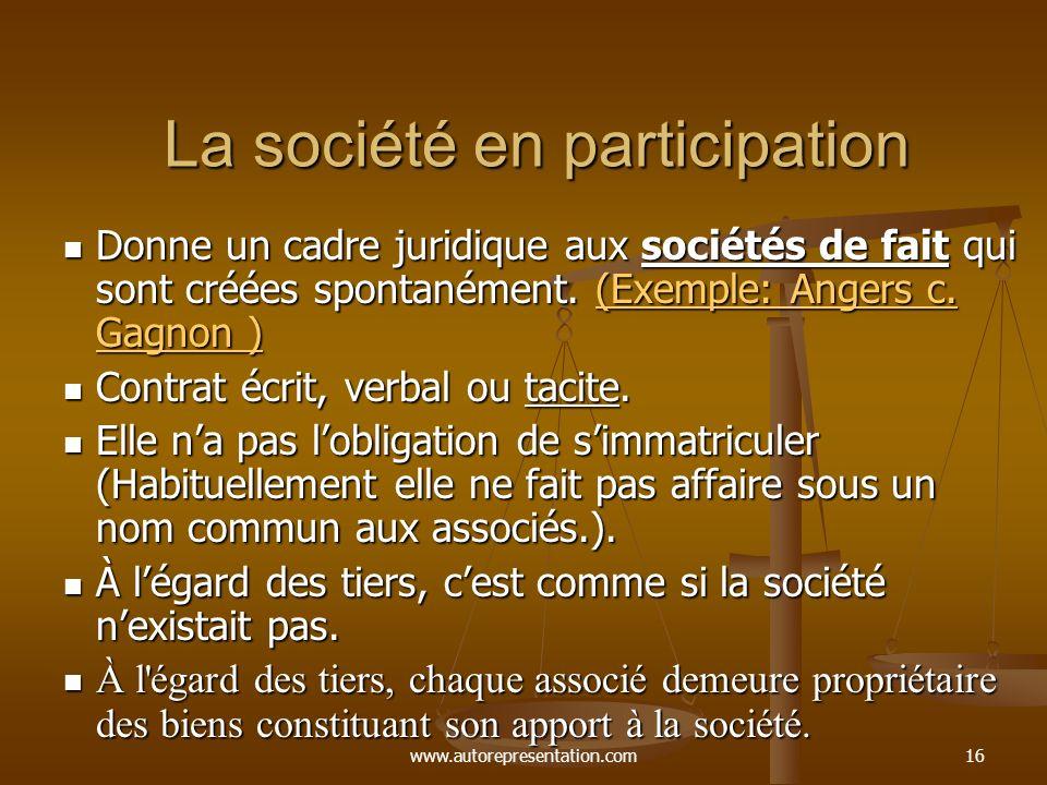 www.autorepresentation.com16 La société en participation Donne un cadre juridique aux sociétés de fait qui sont créées spontanément. (Exemple: Angers