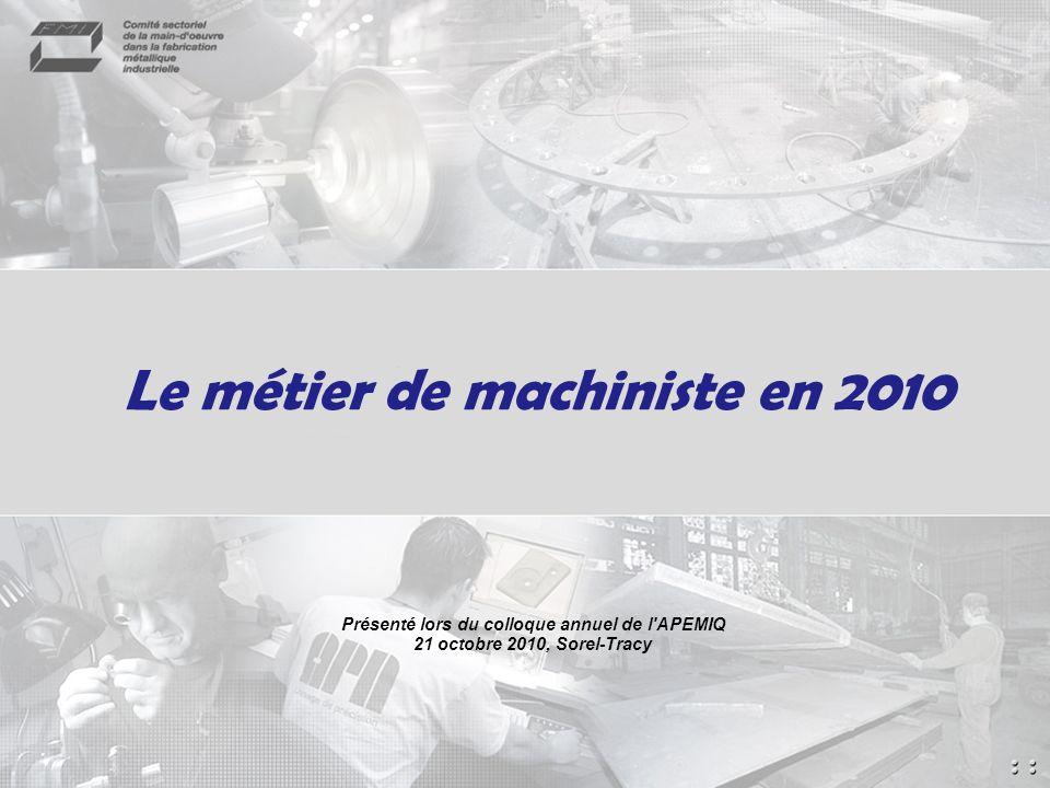 Le métier de machiniste en 2010 Présenté lors du colloque annuel de l APEMIQ 21 octobre 2010, Sorel-Tracy